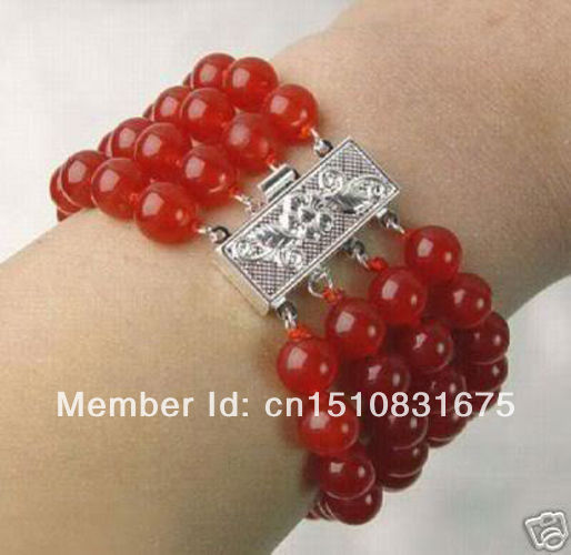 "4 Row 8mm NaturaL Red Jade Round Beads Bracelet 7.5"" AAAxu86(China (Mainland))"