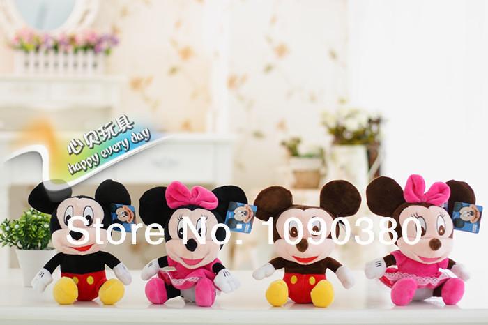 20 CM = 8 '' Mickey Mouse Plush Toys Classic criança brinquedos macio Stuffed dos desenhos animados Mickey & Minnie Baby Toy grátis frete(China (Mainland))
