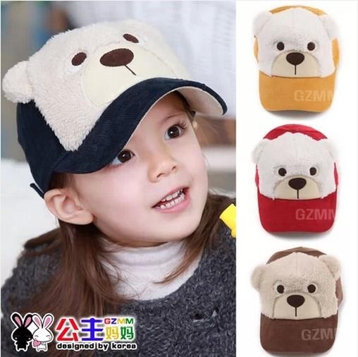 Child cap child spring cap baby sunbonnet male female child bear style baseball cap(China (Mainland))