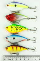 new 50pcs free shipping 55mm VIB Plastic LURES CRANKBAIT 5 color 5.5CM 7.5G VIBRATION plastic fishing hard bait,VIB fishing lure