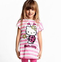 2014 New Baby Girls Hello Kitty Suits Children Clothing Sets Girl's 2Pcs Short Sleeve Tshirts+Pants Children's Sets Retail
