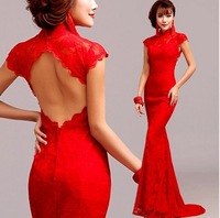 sexy lace mermaid Evening Dresses 2014 Romantic backless party dress .2243free shipping