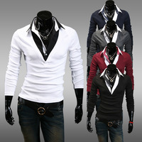 new men's Korean cultivating man conjoined off two casual long-sleeved t-shirt 5 color 4 size