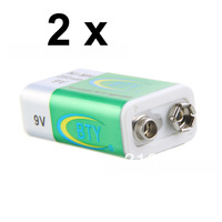 free shipping BTY 2pcs rechargeable battery 9v 6LR61 /110-220V /9V rechargeable battery