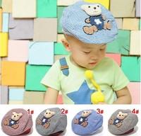 Towel velvet stickers bear broken plaid infant child beret hat male cap