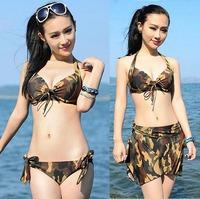 2014 New maillot de bain Korean navy style sexy bikinis set camo camouflage swimsuit biquini M L XL