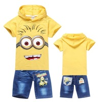 Free shipping! Retail! 2014 hot sale. Summer suits with short sleeves. Children's clothes (T-shirts+pants). Hooded clothes.