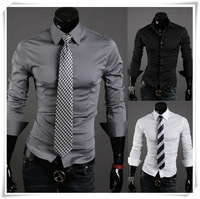 Free Shipping  Hot Autumn Wild Solid Color Shirts Men's Casual Long-sleeved Shirt Men's Slim Wholesale and Retail