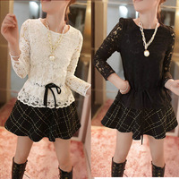 2014 new Korean cultivating large lace long sleeved Chiffon splicing false two dresses