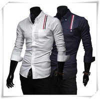 Free Shipping Fashion Features Decorative Ribbon Influx of Men Shirts Men's Casual Shirts Long Sleeve Shirt Wholesale and Retail