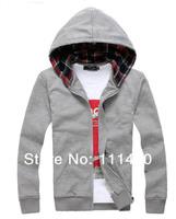 2014 Spring Autumn Large Size Men's Hooded Sweatshirt Plaid Cotton Quality Hooddie  Red Green Blue Big Plus Size Wholesales