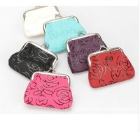 NEW ARRIVE cotton lacfabric women rose  coin purse/ key holderPU leather coin bag l wallet Pocketc lover bags c148
