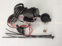 Free shipping 12V 24v Dual USB Motorcycle Car Waterproof Power Socket Charger GPS Phone + Bracket
