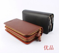 2014 Europe and America fashiong men 100% genuine leather wallet long Double zipper cowhide male wallet cluth purse gift