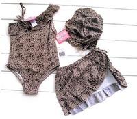 E0739 Girls kids clothes Fashion Leopard print one-piece swimsuit with swimming cap Children swimwear 3pcs/set