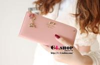 Free Shipping!2014New Brand Designer Women Wallet Fashion Female Wallets Pu Leather Lady purse Bowknot Pendant Clutch Handbag
