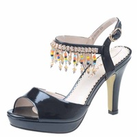 2013 women's japanned leather shoes thin heels high-heeled shoes rhinestone open toe shoe female sandals