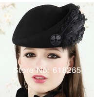 Age season black bud hat little pillbox hat han edition tide red berets wool woolen cloth s hat