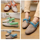 2014 Summer Fashion NEW Mens Canvas Casual Lace Slip On Loafer Shoes Moccasins Driving Shoes-- free shipping hk post