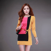 Free Shipping Women Candy-colored long-sleeved thin hit color stitching Size M  L  XL  XXL   A Line Dress G012
