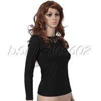 Black Women Girl Triangular Mesh Slim Long Sleeve T-shirt Tops