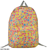 3 Colors Free Shipping 2014 Multicolored Star Printing Backpack Fashion Students Rucksack Shoulder Bags QQ1789
