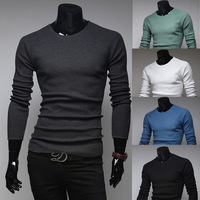 Sweaters New Arrival Hot Sale Pullovers Full Cashmere Casual Thin 2014 Spring Solid Color Male Slim O-neck Long-sleeve Sweater