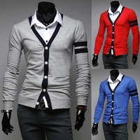 Pullover Men Rushed Full Sweaters New Arrival 2014 Male Color Block Patchwork Long-sleeve Slim All-match Bright Cardigan Sweater