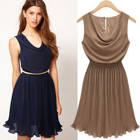 3 Color 2014 Summer New Fashion Women's Sleeveless Cute Pleated Dress Chiffon brief V Neck Dresses Free Shipping