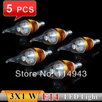 5pcs/lot E14 LED Candle Light 85-265V 3W 300LM Warm White/Whire LED Lamp Bulb E14 For Home Free Shipping