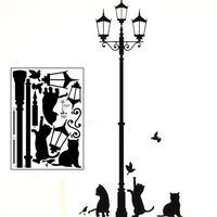 1PC Free Shipping Decorative Removable Lamp Cat Wall Stickers Decal for Home Stairs Sticker Decals FZ2052