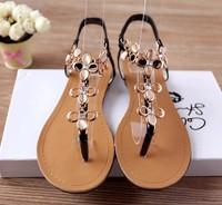 2014 flip-flop flat rhinestone sandals bohemia women's flat heel sandals