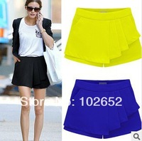 3 Colors 2014 Women's Skirt New Fashion Spring and Summer Chiffon Irregular Solid Pleated Short Skirts Overlap Culotte Pants