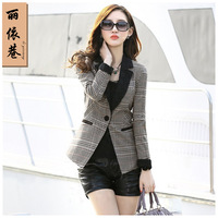 Female blazer outerwear 2014 spring and autumn women's plaid fashion slim outerwear blazer