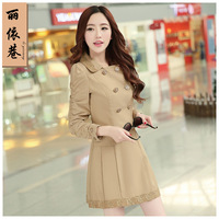Spring 2014 women's trench outerwear medium-long spring and autumn trench female outerwear plus size fashion slim