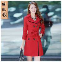 Women's trench 2014 spring women's spring and autumn outerwear plus size trench female fashion slim medium-long