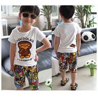 Children t shirts boys clothes summer male set child 2014 short-sleeve T-shirt in shorts beach wear set 100% cotton
