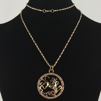Free Shipping  New 14k Gold Filled   Charming Women  Party Gift  Horse Pendant   Austrian Crystal Sweater Chain Necklace Jewelry