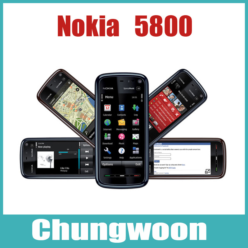 Nokia phone 5800 unlocked original Nokia 5800 Xpress Music cell phone GSM 3G Wifi 3.2MP camera 1 year warranty Refurbished(China (Mainland))