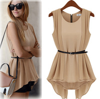 New Arrival 2014 Women Summer Chiffon Blouse Ladies Shirts Fashion Dress Plus Size WF05
