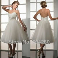 2014 Special Strapless Short Wedding Dresses Fashion organza with handmade flowers Designer Ball Gown Short Wedding Gowns