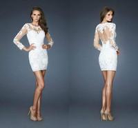 Платье на студенческий бал Sheath Boat Neckline Long Sleeves Short/Mini White Appliques Lace Sexy Cocktail Dresses