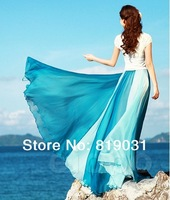 summer girls princess skirt patchwork color chiffon pleated elastic waist Bohemia beach long Maxi skirts womens Floor length