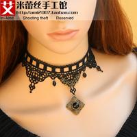 Black vintage gothic false collar crystal tassel lace necklace elegant collapsibility female chain
