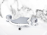 2013 Unique Design 3 Pieces 2 Lever Bathroom Bathtub Basin Sink Brass Faucet Vanity Mixer Tap Chrome MF-537