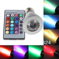 10sets/lot 3W RGB LED Bulbs E27 85~265V RGB Spotlight bulb HK post free shipping