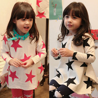2014 spring girls clothing baby child long design long-sleeve T-shirt tx-2932 basic shirt
