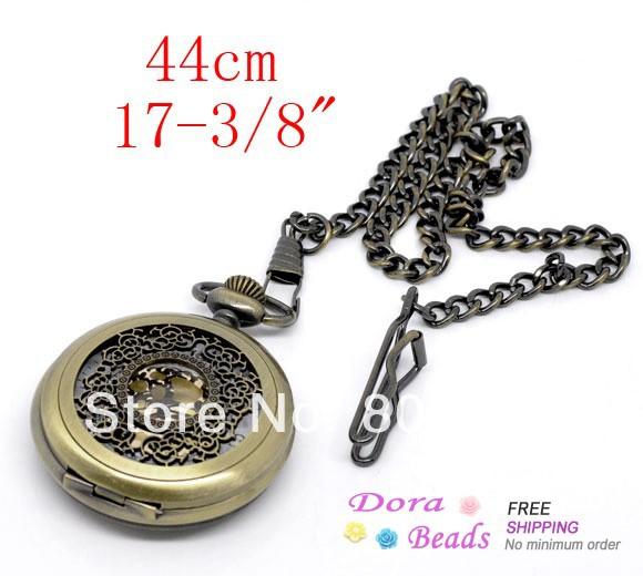 """El tono de bronce de la cadena collar de cuarzo reloj de bolsillo 17-3/8""""( b09957)"""