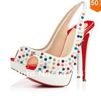 New Arrival Women Sexy Peep Toe Platform Multicolor Spike High Heels Beautiful Pumps
