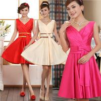 New 2014 spring double-shoulder dress lace up evening dress bandage short design prom dress
